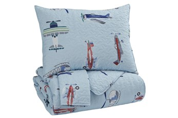 Full Quilt-3 Piece Set Airplanes Multi