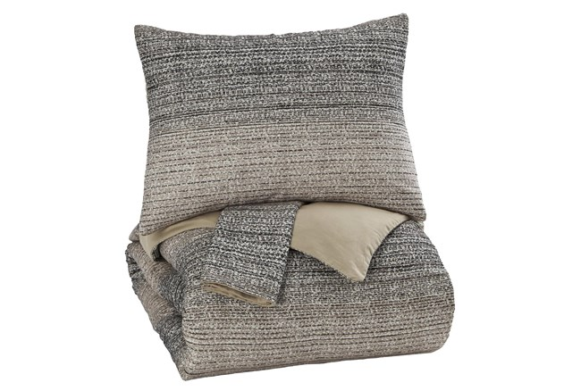 Eastern King Duvet-3 Piece Set Ombre Brown & Charcoal - 360