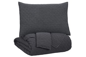 Queen Coverlet-3 Piece Set Diamond Stitch Charcoal