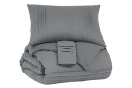 Eastern King Coverlet-3 Piece Set Small Pleated Charcoal