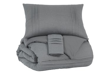 Queen Coverlet-3 Piece Set Small Pleated Charcoal