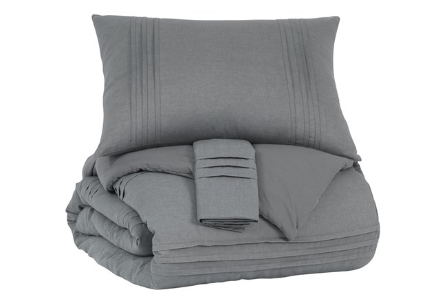 Queen Coverlet-3 Piece Set Small Pleated Charcoal - 360