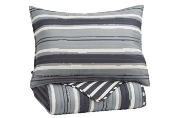 Twin Coverlet-2 Piece Set Stripes Grey