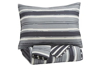 Full Coverlet-3 Piece Set Stripes Grey