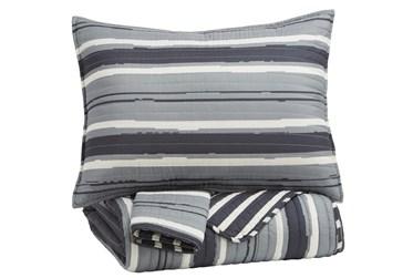 Full Coverlet-3 Piece Set Stripes Grey