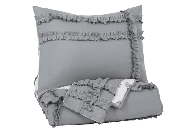 Twin Comforter-2 Piece Set Reversible Grey Floral - 360