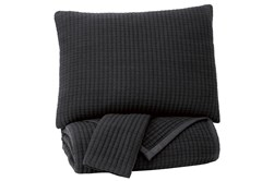 Queen Coverlet-3 Piece Set Pick Stitched Black