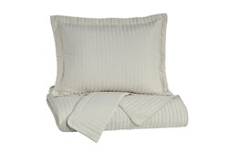 Eastern King Coverlet-3 Piece Set Channel Stitched Bone