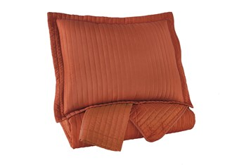 Eastern King Coverlet-3 Piece Set Channel Stitched Orange