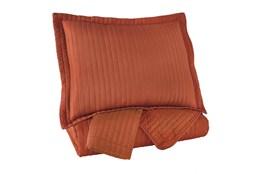 Queen Coverlet-3 Piece Set Channel Stitched Orange