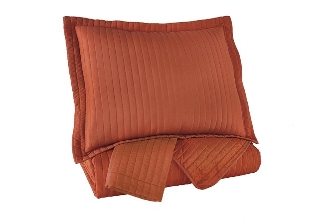 Queen Coverlet-3 Piece Set Channel Stitched Orange - 360