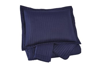 Queen Coverlet-3 Piece Set Channel Stitched Navy