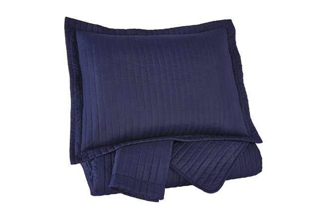 Queen Coverlet-3 Piece Set Channel Stitched Navy - 360