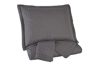 Eastern King Coverlet-3 Piece Set Channel Stitched Grey