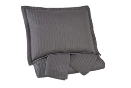 Queen Coverlet-3 Piece Set Channel Stitched Grey