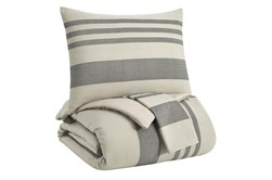 Queen Comforter-3 Piece Set Large Stripes Charcoal