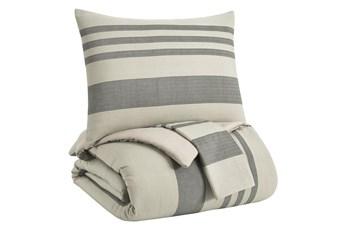 Queen Comforter-3 Piece Set Large Stripes Charcoal