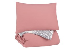 Twin Comforter-2 Piece Set Ruffled Pink And Grey
