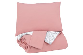 Full Comforter-3 Piece Set Ruffled Pink And Grey