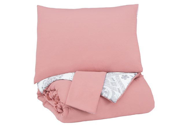 Full Comforter-3 Piece Set Ruffled Pink And Grey - 360