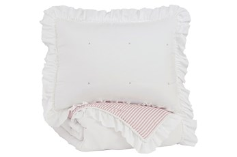 Twin Comforter-2 Piece Reversible Ruffled Trim With Pink Stripes