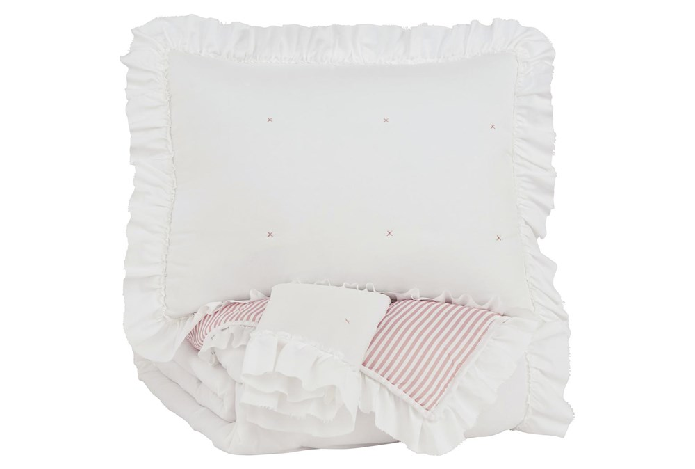 Full Comforter-3 Piece Reversible Ruffled Trim With Pink Stripes
