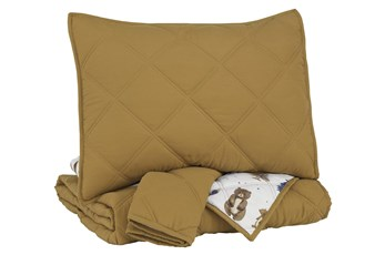 Full Quilt-3 Piece Set Reversible Gold & Wilderness