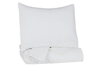 Full/Queen Coverlet-3 Piece Set Diamond Stitch White