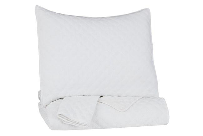 Full/Queen Coverlet-3 Piece Set Diamond Stitch White - 360