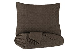 Full/Queen Coverlet-3 Piece Set Diamond Stitch Brown