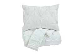 Queen Comforter-3 Piece Set Pin Pleated White