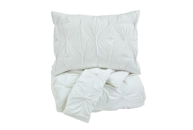 Queen Comforter-3 Piece Set Pin Pleated White - 360