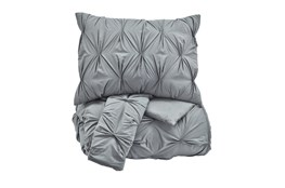Eastern King Comforter-3 Piece Set Pin Pleated Grey