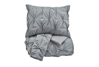 Eastern King Comforter-3 Piece Set Pin Pleated Grey