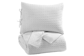 Eastern King Comforter-3 Piece Set Waffle White