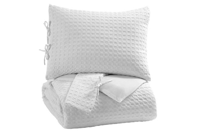 Queen Comforter-3 Piece Set Waffle White - 360