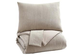 Queen Comforter- 3 Piece Set Natural Beige