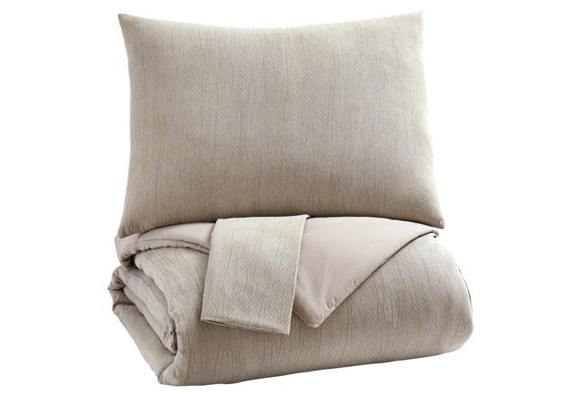 Queen Comforter- 3 Piece Set Natural Beige - 360