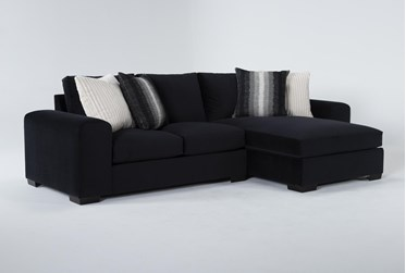 Salem Velvet 2 Piece Sectional With Right Arm Facing Chaise