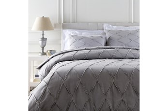 Eastern King Duvet-3 Piece Set Appliqued Medium Grey