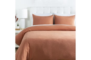 Eastern King Duvet-3 Piece Set Linen Burnt Orange