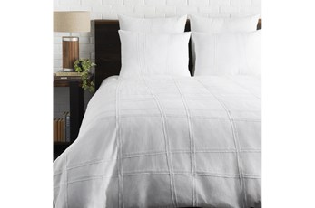 Eastern King Duvet-3 Piece Set Raised Grid White