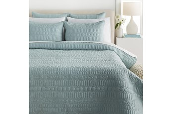 Eastern King Quilt-3 Piece Set Pebble Stitched Blue