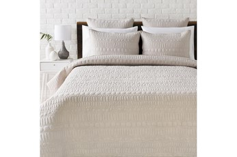 Eastern King Quilt-3 Piece Set Pebble Stitched Light Grey