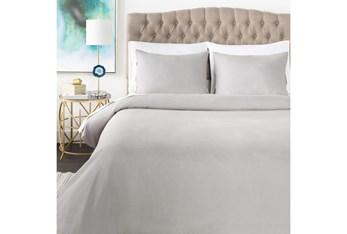 Full/Queen Duvet-3 Piece Set Linen Blend Solid Grey