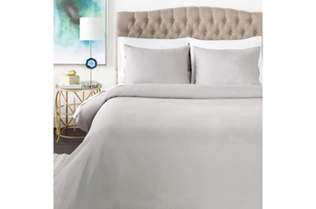 Eastern King Duvet-3 Piece Set Linen Blend Solid Grey