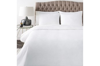 Eastern King Duvet-3 Piece Set Linen Blend Solid White