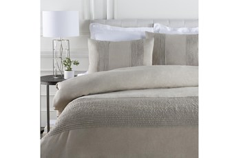 Eastern King Duvet-3 Piece Set Linen Small Stitched Light Grey