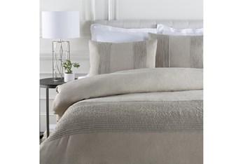 Eastern King Duvet-3 Piece Set Linen Small Stitched Light Grey