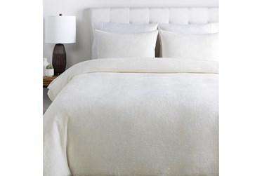 Full/Queen Duvet-3 Piece Set Cotton Waffle White